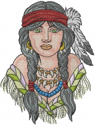 Indian Woman embroidery design