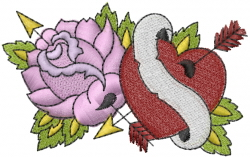 Rose And Heart embroidery design