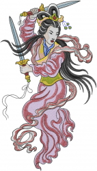 Fighting Asian Woman embroidery design