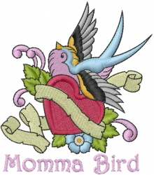 Momma Bird embroidery design