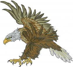 Flying Brown Eagle embroidery design