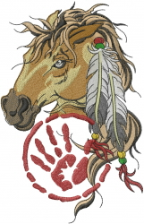Horse Head Feather embroidery design