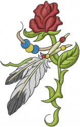 Rose with Feathers embroidery design