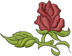 Rose with Leaf embroidery design