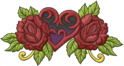 Roses and Heart embroidery design