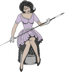 Lady With Needle embroidery design