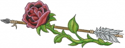 Rose With Arrow embroidery design