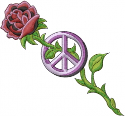 Rose And Peace Sign embroidery design