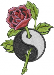 Rose And Ying Yang embroidery design