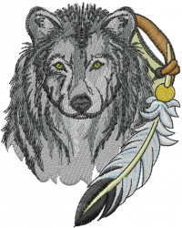 Wolf With Feather embroidery design