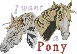 I Want A Pony embroidery design