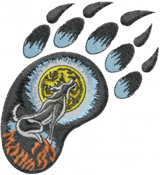 Wolf Howl Paw Print embroidery design