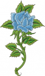 Blue Long Stem Rose embroidery design