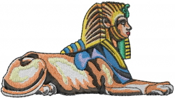 Eqyptian Sphynx embroidery design