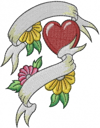 Flowers Heart And Banner embroidery design