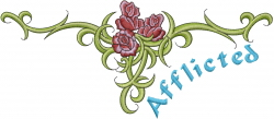 Afflicted embroidery design
