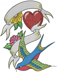 Sparrow With Flowers embroidery design