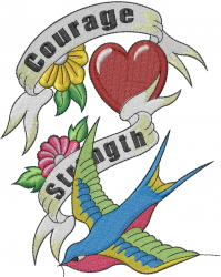 Courage Strength embroidery design