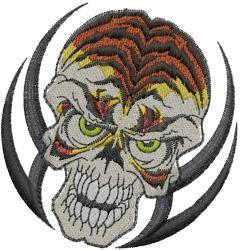 Tiger Striped Skull embroidery design
