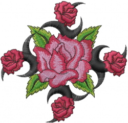 Five Pink Roses embroidery design
