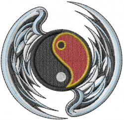 Ying Yang With Wings embroidery design