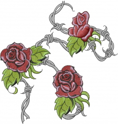 Barbed Wire With Roses embroidery design