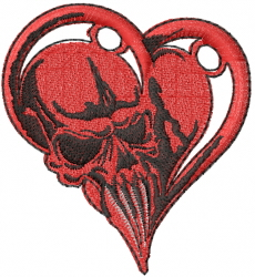 Skull In Heart embroidery design