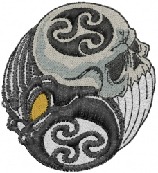 Ying Yang Skulls embroidery design