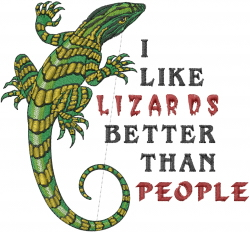 I Like Lizards embroidery design
