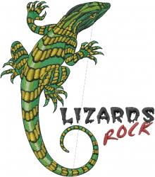 Lizards Rock embroidery design