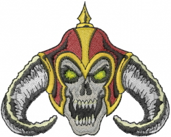 Skull With Horned Helmet embroidery design