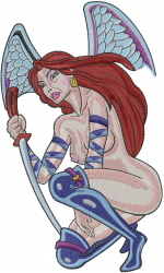 Winged Nude Woman embroidery design
