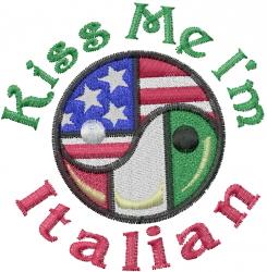 Kiss Me Im Italian embroidery design