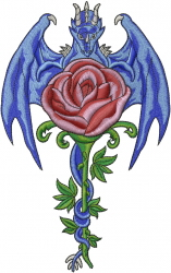 Dragon Rose embroidery design