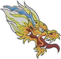 Chinese Dragon Head embroidery design
