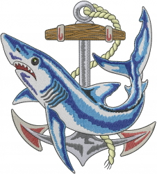 Shark With Anchor embroidery design