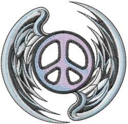 Peace Sign With Wings embroidery design