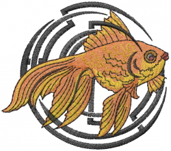 Tribal Goldfish embroidery design