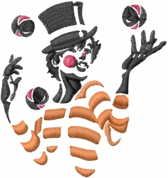 Clown Juggling embroidery design