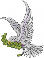 Dove With Branch embroidery design