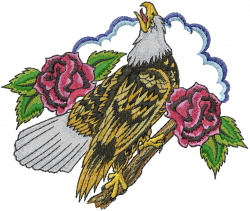Eagle With Roses embroidery design