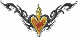 Flaming Heart Tattoo embroidery design