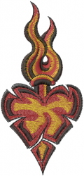 Heart Flame embroidery design