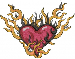 Heart On Fire embroidery design