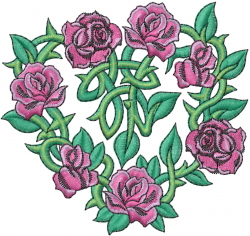 Heart Shaped Roses embroidery design
