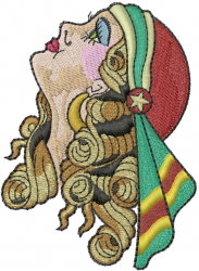 Retro Beauty Woman embroidery design