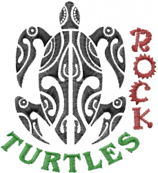 Turtles Rock embroidery design