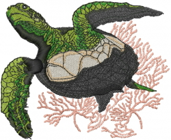 Sea Turtle With Coral embroidery design