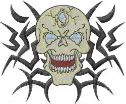 Mad Skull embroidery design