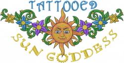 Tattooed Sun Goddess embroidery design